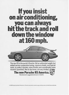 Porsche advertorial 964 RS, geweldige tekst! :-D