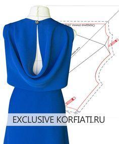 Pattern of dresses with curtains on the back by Anatasia Korfiati Dress Sewing Patterns, Clothing Patterns, Sewing Clothes, Diy Clothes, Sewing Collars, Mode Mantel, Fashion Sewing, Pattern Fashion, Dressmaking