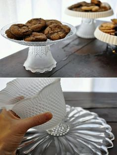 Use Old Globe lights from bathroom fixtures to make a cake stand base.
