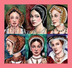 The Six Wives of Henry VIII: Catharine of Aragon, Anne Boleyn, Jane Seymour, Anne of Cleves, Kathryn Howard, Katharine Parr. (I wish I knew who the artist was!) #art #tudors