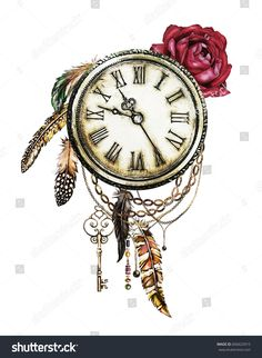 watercolor illustration with red roses, clock, keys and feathers. Gothic background with flowers. Cool print on T-shirt, Tattoo. Vintage