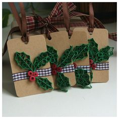 Set of 4 Christmas Gift Tags, Paper Quilling Gift Tags. $8.90, via Etsy.