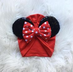 Red Turban Hat with Minnie Ears Knit Cotton Fabric Handmade ((Sizing)) NewBorn-- Best fit for ages 0 - 3 months Infant-- Best fit for ages 3month to 12month Toddle-- Best fit for ages 18month to 4yrs Child-- Best fit for ages 5yrs to 9yrs Teen/adult-- Best fit for ages 10yrs to