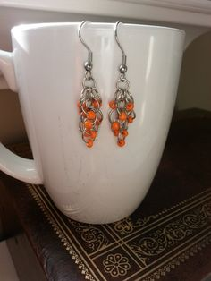 Orange Rhumba Surgical Stainless Steel Chainmaille Earrings, Spring, Summer, Peach, Coral, Earrings, Chainmaille, Movement, Stainless Steel by PickinsGalore on Etsy https://www.etsy.com/ca/listing/455752310/orange-rhumba-surgical-stainless-steel