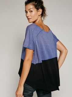 Midnight Tee | Super soft and relaxed tee with unfinished edges for an effortless lived-in look. Bottom contrast color detail.