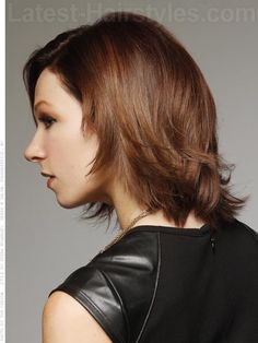 Medium Brown Flipped Bob Side View with Layers
