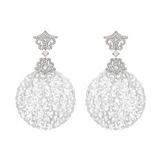 This pair of icy white jade earrings from David Marshall are centred around traditional Chinese carvings contrasted by the contemporary setting of diamonds and coloured gemstones.