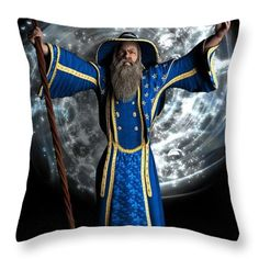 Vector Throw Pillows - Merlin Wizard Throw Pillow by Todd and candice Dailey