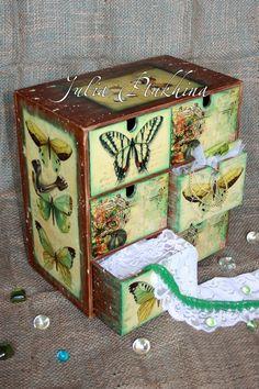 mini decoupage dresser, butterfly