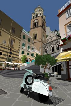 Digital Art - Amalfi Cathedral and moped