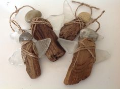 Driftwood ornaments Beach stone ornaments by MossBetweenMyToes