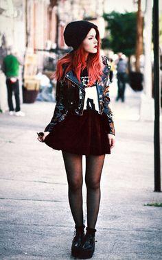 Leather jacket & burgundy skater skirt