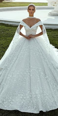27b30bb9e90ac Magbridal Splendid Lace Off-the-shoulder Neckline Ball Gown Wedding Dresses  With Lace Appliques & Beadings