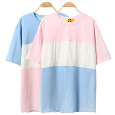 """""""Color Block Short-Sleeve T-Shirt"""" Kylie Just Right Got7, Casual T Shirts, Cotton Shorts, Harajuku, T Shirts For Women, Womens Fashion, Style Fashion, Sewing, Lady"""