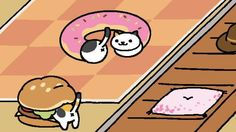 dottie and spots playing in my donut tube :)) sunny is playing with my burger cushion! #nekoatsume #neko #atsume #dottie #sunny #spots #donut #tube #burger #cushion
