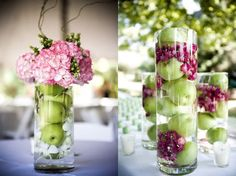 green apple centerpieces - How about oranges with purple flowers? Apple Centerpieces, Small Centerpieces, Wedding Centerpieces, Wedding Decorations, Centerpiece Ideas, Wedding Ideas, Purple Centerpiece, Hydrangea Centerpieces, Hanukkah Decorations