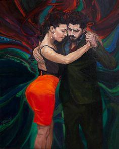 TANGO, oil on canvas, 33x46, 2017,  Daria Solar Art, a painter from the #lovingvincent team, http://www.dariasolar.eu/   #tango #tangoargentino #tangoart #sexy