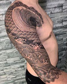Tattoo Ideas – Graphic Design Inspiration - Famous Last Words Wave Tattoo Sleeve, Geometric Sleeve Tattoo, Tattoo Sleeve Designs, Arm Band Tattoo, Japanese Water Tattoo, Japanese Sleeve Tattoos, Modern Tattoos, Traditional Japanese Tattoos, Tattoo Graphic