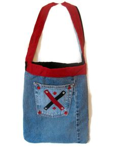 Denim Tote Bag  Recycled Denim Bag  Women's Tote by bagsbyhags45