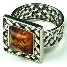 Basket weave Amber ring