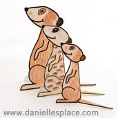 meerkat 3D folded paper craft for kids, meercat craft www.daniellesplace.com
