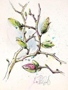 ORIGINAL Magnolie Aquarell Tusche Bild botanische