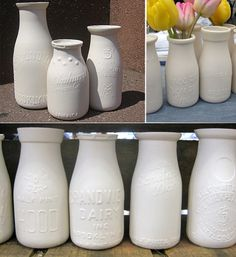 vintage milk bottles for vases? Cute for the kitchen/breakfast nook Vintage Milk Bottles, Glass Milk Bottles, Glass Jars, Kitchen Breakfast Nooks, Ceramics Projects, Milk Cans, Wedding Table Settings, Jar Crafts, Ceramic Artists