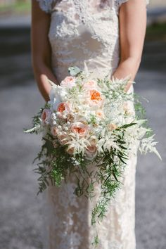 Peach and white wedd