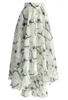 Blooming Camellia Waterfall Frilling Skirt
