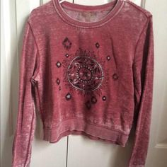 Long Sleeved Cropped Sweater Vintage looking Soft long sleeved cropped top. Great condition. No trades please. I do bundles! LA Hearts Sweaters