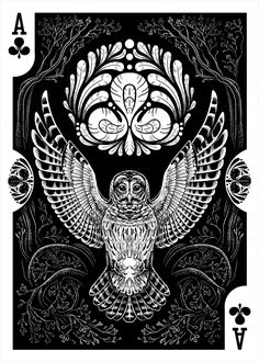 Strigiformes Owls Playing Cards by Renee LeCompte - Ace of Clubs | more here: http://playingcardcollector.net/2014/11/26/owls-strigiformes-playing-cards-by-renee-lecompte/