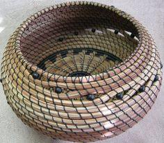 MIDNIGHT MADNESS   Round coiled pine needle basket by PINESPIRIT, $78.00