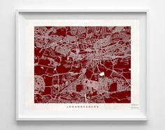 Johannesburg Map South Africa Poster Print by InkistPrints on Etsy - $19.95 - Shipping Worldwide! [Click Photo for Details]