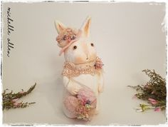LARGE highly detailed paper clay folk art  shabby cottage chic Bunny Rabbit Doll by Michelle Allen / Raggedy Pants Designs by RaggedyPantsDesigns on Etsy