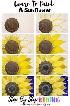 Sunflower Canvas Paintings, Simple Canvas Paintings, Canvas Art, Diy Canvas, Canvas Painting Tutorials, Diy Painting, Painting & Drawing, Online Painting, Painting Steps
