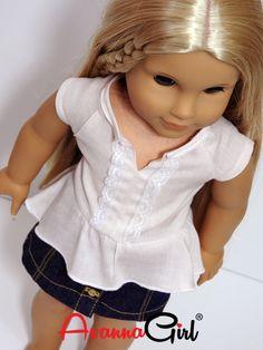 American Girl Doll® Handmade Hi Lo Peplum Top and Denim Mini Skirt by AvannaGirl on Etsy
