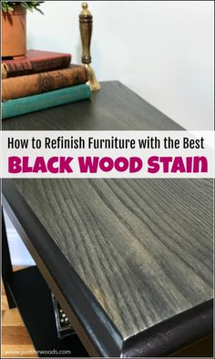 Black furniture paint and black wood stain make the perfect pair. Black furniture is timeless and one of the easier painted furniture finishes to achieve. Black Distressed Furniture, Black Wood Stain, Black Painted Furniture, Paint Furniture, Unique Furniture, Furniture Plans, Furniture Makeover, Rustic Furniture, How To Distress Furniture