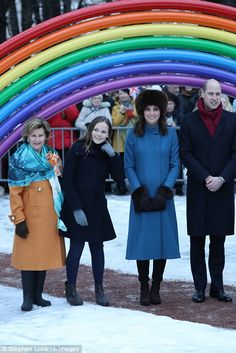 Huge crowds came out to see the Duke and Duchess of Cambridge as they joined Queen Sonja and Princess Ingrid Alexandra
