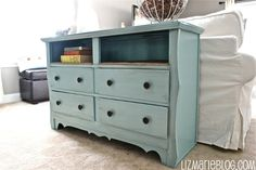 I love the idea of turning an old dresser into a table for a hallway or behind a couch. And, I love the burlap covering on the shelves. #prettyprovidence