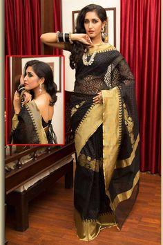 Black #Handloom Silk and Net Printed #FestivalSaree Sku Code: 392-6010SA922698 USD 70.00 http://www.sareez.com/catalog/product/view/id/72408/s/black-handloom-silk-and-net-printed-festival-saree/category/90/#