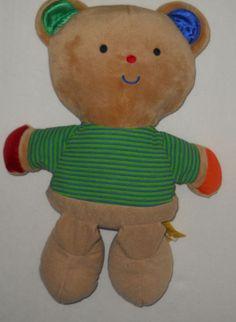 "Melissa Doug K's Kids Tan Teddy Bear13"" Stripe Shirt Satin Ear Hand Blue Green #MelissaDoug"