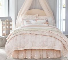 Monique Lhuillier Ethereal Lace Quilted Bedding #Pottery Barn Kids