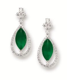PAIR OF JADEITE AND DIAMOND PENDENT EARRINGS.  Each suspending on a marquise-shaped jadeite cabochon of intense emerald green colour and fine translucency, within a frame set with brilliant-cut diamonds, surmounted by a cluster of pear-shaped diamonds, linked by a brilliant-cut diamond, the diamonds altogether weighing approximately 3.00 carats, mounted in 18 karat white gold.  Cabochons approximately 19.55 x 10.16 x 5.06mm and 19.56 x 10.18 x 5.08mm respectively.