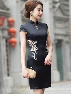 Black Embroidered Qipao / Cheongsam Dress with Lace Back