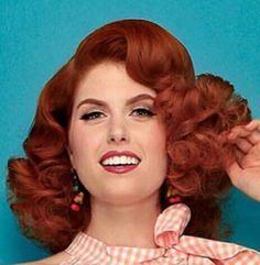 Short Curly Hair, Curly Hair Styles, Big Hair, Vintage Hairstyles, Updos, Redheads, Curls, Wave, Hair Beauty