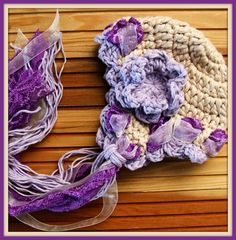 Cotton Purple and Biege Crochet Baby Hat with Lace