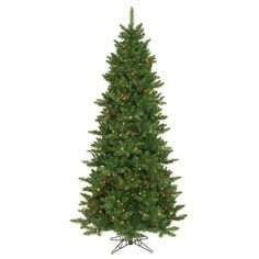 """Camdon Fir 90"""" Artificial Slim Christmas Tree with Multicolored Lights"""
