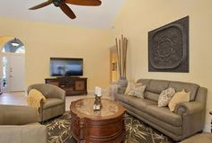 """Contemporary Living Room with Carpet, 72"""" Minka Great Room Oil-Rubbed Bronze Ceiling Fan, Ceiling fan, High ceiling"""