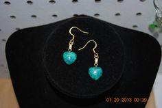One pair of green heart earrings by JEWELRYBYTWYLA on Etsy, $4.50