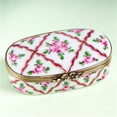 Limoges Roses and Stripes Romantic Oval Box The Cottage Shop